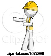 White Construction Worker Contractor Man Presenting Something To His Right