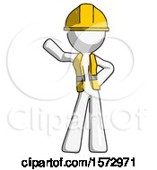 White Construction Worker Contractor Man Waving Right Arm With Hand On Hip