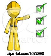 Yellow Construction Worker Contractor Man Standing By List Of Checkmarks