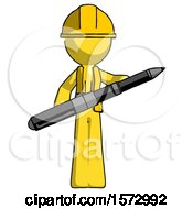 Yellow Construction Worker Contractor Man Posing Confidently With Giant Pen