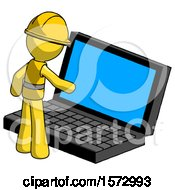 Yellow Construction Worker Contractor Man Using Large Laptop Computer