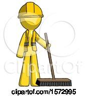 Yellow Construction Worker Contractor Man Standing With Industrial Broom