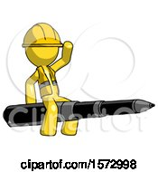 Yellow Construction Worker Contractor Man Riding A Pen Like A Giant Rocket