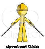 Yellow Construction Worker Contractor Man Posing With Two Ninja Sword Katanas