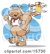Poster, Art Print Of Big Dog Carrying A Water Bottle And Running While A Lazy Little Dog Hangs Onto His Tail