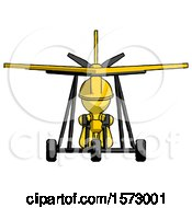Yellow Construction Worker Contractor Man In Ultralight Aircraft Front View