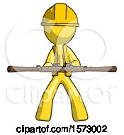 Yellow Construction Worker Contractor Man Bo Staff Kung Fu Defense Pose