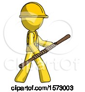 Yellow Construction Worker Contractor Man Holding Bo Staff In Sideways Defense Pose