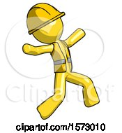 Yellow Construction Worker Contractor Man Running Away In Hysterical Panic Direction Right