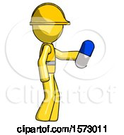 Yellow Construction Worker Contractor Man Holding Blue Pill Walking To Right