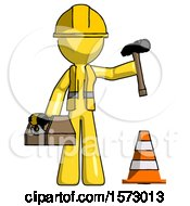 Yellow Construction Worker Contractor Man Under Construction Concept Traffic Cone And Tools