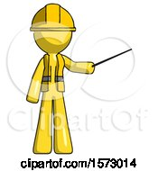 Yellow Construction Worker Contractor Man Teacher Or Conductor With Stick Or Baton Directing