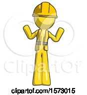 Yellow Construction Worker Contractor Man Shrugging Confused