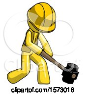 Yellow Construction Worker Contractor Man Hitting With Sledgehammer Or Smashing Something At Angle
