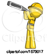Yellow Construction Worker Contractor Man Thermometer In Mouth