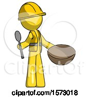 Yellow Construction Worker Contractor Man With Empty Bowl And Spoon Ready To Make Something
