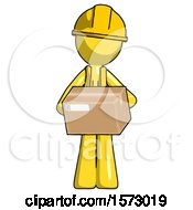 Yellow Construction Worker Contractor Man Holding Box Sent Or Arriving In Mail