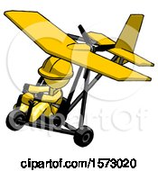 Yellow Construction Worker Contractor Man In Ultralight Aircraft Top Side View