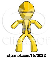 Yellow Construction Worker Contractor Male Sumo Wrestling Power Pose