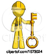 Yellow Construction Worker Contractor Man Holding Key Made Of Gold