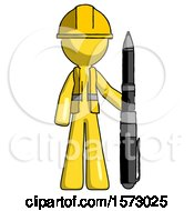 Yellow Construction Worker Contractor Man Holding Large Pen