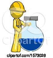 Yellow Construction Worker Contractor Man Standing Beside Large Round Flask Or Beaker