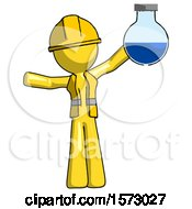 Yellow Construction Worker Contractor Man Holding Large Round Flask Or Beaker