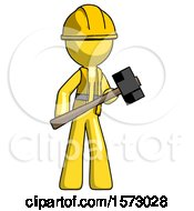 Yellow Construction Worker Contractor Man With Sledgehammer Standing Ready To Work Or Defend