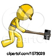 Yellow Construction Worker Contractor Man Hitting With Sledgehammer Or Smashing Something