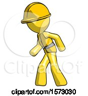 Yellow Construction Worker Contractor Man Suspense Action Pose Facing Left