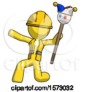 Yellow Construction Worker Contractor Man Holding Jester Staff Posing Charismatically