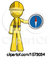 Yellow Construction Worker Contractor Man Holding A Large Compass