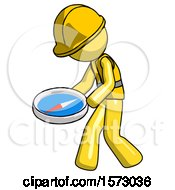 Yellow Construction Worker Contractor Man Walking With Large Compass