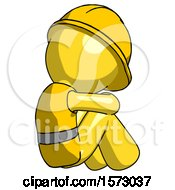 Yellow Construction Worker Contractor Man Sitting With Head Down Back View Facing Right