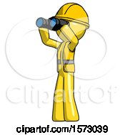 Yellow Construction Worker Contractor Man Looking Through Binoculars To The Left