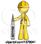 Yellow Construction Worker Contractor Man Standing With Large Thermometer