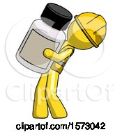 Yellow Construction Worker Contractor Man Holding Large White Medicine Bottle