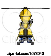 Yellow Construction Worker Contractor Man Flying In Gyrocopter Front View