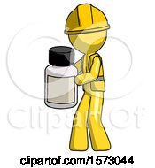 Yellow Construction Worker Contractor Man Holding White Medicine Bottle
