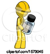 Yellow Construction Worker Contractor Man Holding Glass Medicine Bottle