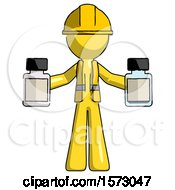 Yellow Construction Worker Contractor Man Holding Two Medicine Bottles