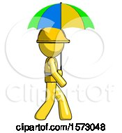 Yellow Construction Worker Contractor Man Walking With Colored Umbrella