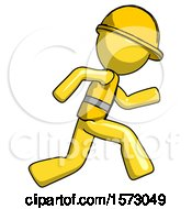 Yellow Construction Worker Contractor Man Running Fast Right