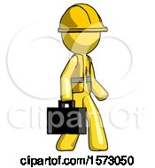Yellow Construction Worker Contractor Man Walking With Briefcase To The Right