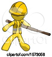 Yellow Construction Worker Contractor Man Bo Staff Action Hero Kung Fu Pose