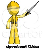 Yellow Construction Worker Contractor Man Holding Sword In The Air Victoriously