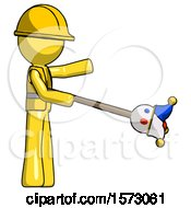 Yellow Construction Worker Contractor Man Holding Jesterstaff I Dub Thee Foolish Concept