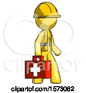 Yellow Construction Worker Contractor Man Walking With Medical Aid Briefcase To Right