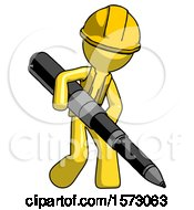 Yellow Construction Worker Contractor Man Writing With A Really Big Pen