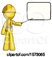 Poster, Art Print Of Yellow Construction Worker Contractor Man Giving Presentation In Front Of Dry-Erase Board